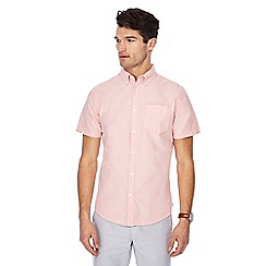 Racing Green - Big and tall dark peach short sleeve tailored fit oxford shirt