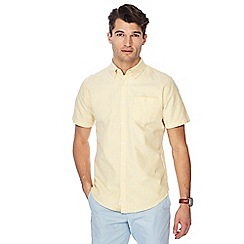 Racing Green - Big and tall yellow short sleeve tailored fit oxford shirt