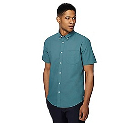 Racing Green - Big and tall bright green short sleeve tailored fit oxford shirt