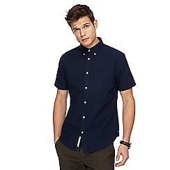 Racing Green - Navy Oxford tailored fit short sleeve shirt