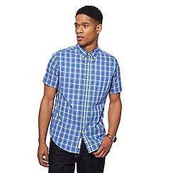 Racing Green - Blue vibrant checked tailored fit shirt