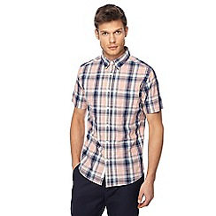 Racing Green - Big and tall pink check short sleeve tailored fit shirt