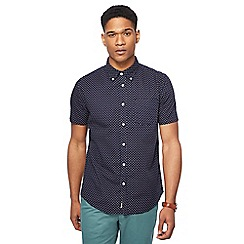 Racing Green - Navy dark ditsy print tailored fit shirt