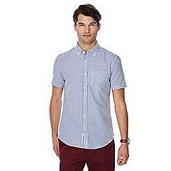 Racing Green - Blue striped button down collar short sleeve tailored fit shirt
