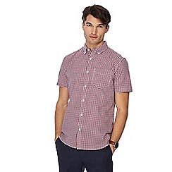 Racing Green - Red gingham print button down collar short sleeve tailored fit shirt