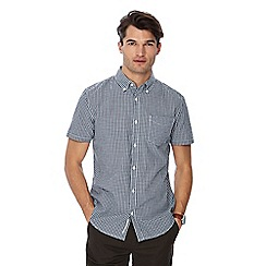 Racing Green - Big and tall dark green gingham print button down collar short sleeve tailored fit shirt