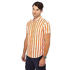 Racing Green - Orange striped short sleeve regular fit shirt