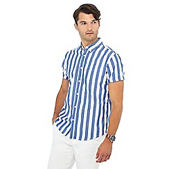 Racing Green - Blue striped short sleeve regular fit shirt