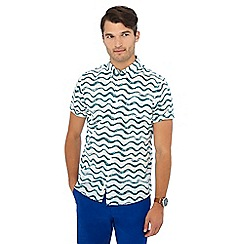 Racing Green - Big and tall white and green wave print short sleeve regular fit shirt