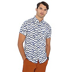Racing Green - White and blue wave print short sleeve regular fit shirt