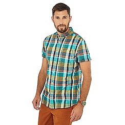 Racing Green - Bright green check print shirt sleeve tailored fit shirt