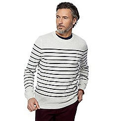 Racing Green - Big and tall grey striped jumper