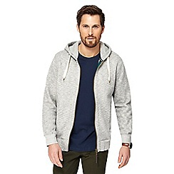 Racing Green - Big and tall grey zip through hoodie