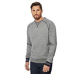 Racing Green - Grey tipped crew neck long sleeve sweatshirt