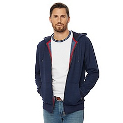 Racing Green - Big and tall navy tipped zip through hoody