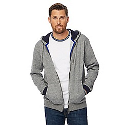 Racing Green - Big and tall grey grindle textured zip through hoodie