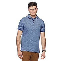 Racing Green - Blue pique printed polo shirt