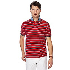 Racing Green - Red textured stripe polo shirt