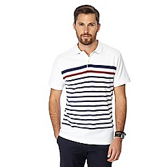 Racing Green - White stripe print polo shirt