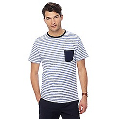 Racing Green - Blue striped contrast pocket t-shirt
