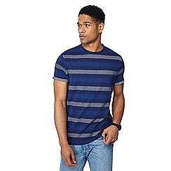 Racing Green - Big and tall navy popcorn stripe t-shirt
