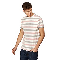 Racing Green - Big and tall white popcorn stripe t-shirt