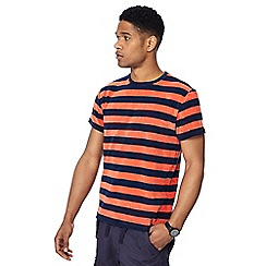 Racing Green - Big and tall orange striped towelling t-shirt