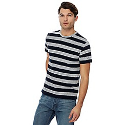 Racing Green - Big and tall grey striped towelling t-shirt