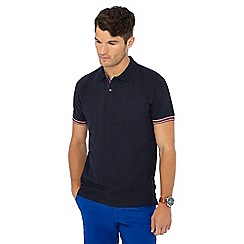 Racing Green - Navy tipped placket polo shirt
