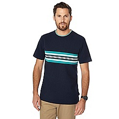 Racing Green - Big and tall navy stripe chest panel t-shirt