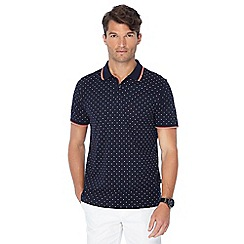 Racing Green - Navy spot print polo shirt