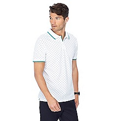 Racing Green - White spot print polo shirt