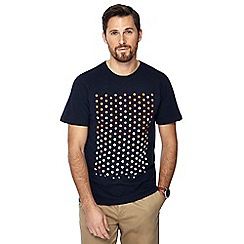Racing Green - Big and tall navy spotted print t-shirt