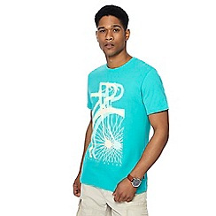 Racing Green - Aqua layered bike print crew neck t-shirt