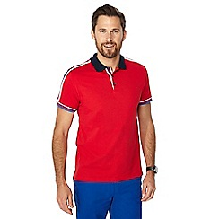Racing Green - Red striped tape polo shirt