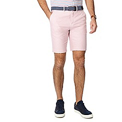 Racing Green - Pink belted Oxford chino shorts