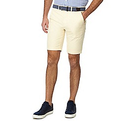 Racing Green - Yellow belted Oxford chino shorts