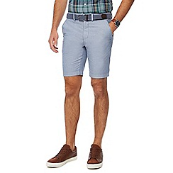 Racing Green - Blue belted Oxford chino shorts
