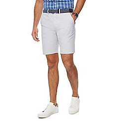 Racing Green - Light grey belted Oxford chino shorts