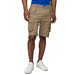 Racing Green - Big and tall light tan regular fit cargo shorts