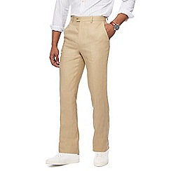 Racing Green - Big and tall light tan linen trousers