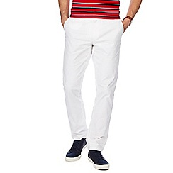 Racing Green - White straight fit chinos