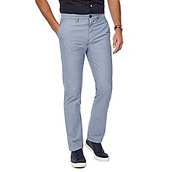 Racing Green - Blue Oxford straight leg chinos