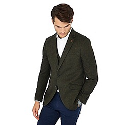 Racing Green - Big and tall dark green herringbone wool blend blazer