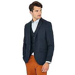 Racing Green - Blue herringbone wool blend blazer