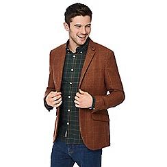 Racing Green - Big and tall dark orange 'raker' blazer with wool