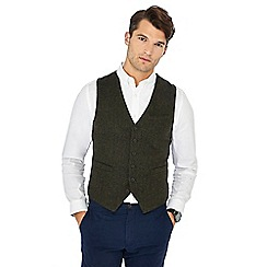 Racing Green - Big and tall dark green herringbone wool blend waistcoat