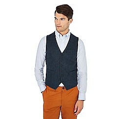 Racing Green - Big and tall blue herringbone wool blend waistcoat