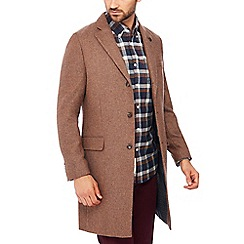 Racing Green - Big and tall tan wool blend 'Cheltenham' epsom coat