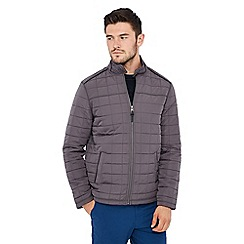 Racing Green - Grey quilted fleece jacket